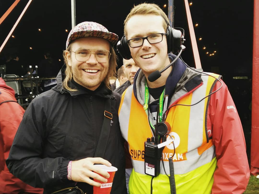 With Enter Shikari's frontman Rou Reynolds, whilst supervising arena stewards at Reading 2018.